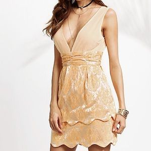 Luxxel Tan Textured Mini Dress with Gold Flowers